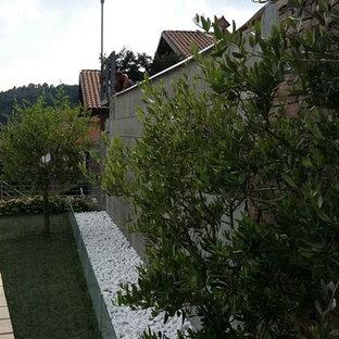 Diseño de piscina infinita, romántica, de tamaño medio, a medida, en patio trasero