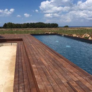 他の地域の大きい長方形地中海スタイルのおしゃれなプール (天然石敷き) の写真