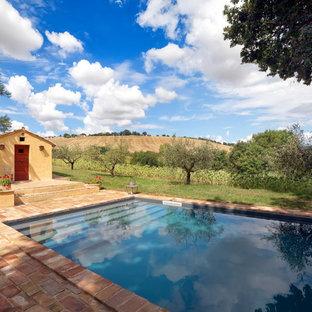 Modelo de casa de la piscina y piscina natural, mediterránea, de tamaño medio, rectangular, en patio delantero, con entablado