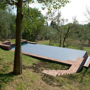 フィレンツェの中サイズの長方形カントリー風おしゃれなプール (天然石敷き) の写真