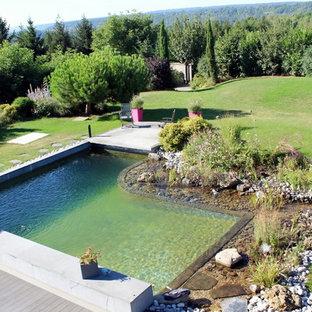 Cette image montre une piscine naturelle et arrière rustique de taille moyenne et sur mesure avec un bain bouillonnant et du gravier.