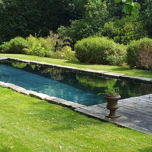 Réalisation d'une piscine arrière tradition rectangle et de taille moyenne.