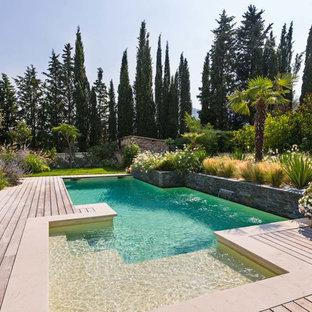 Ejemplo de piscina con fuente alargada, contemporánea, a medida, en patio trasero, con entablado