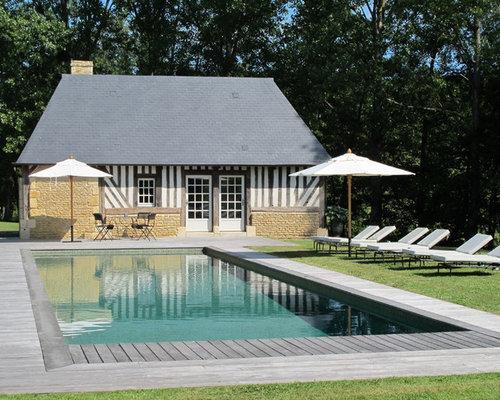 ide de dcoration pour une piscine sur une terrasse en bois tradition de taille moyenne et - Piscine Hors Sol Avec Terrasse