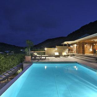 Idée de décoration pour une grande piscine sur une terrasse en bois arrière design rectangle.
