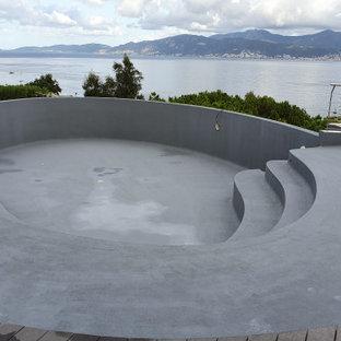 Foto de piscina infinita, actual, grande, redondeada, en patio trasero, con entablado
