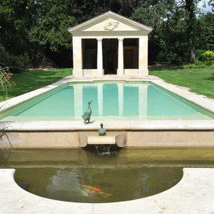 Cette photo montre des abris de piscine et pool houses chics de taille moyenne et rectangles.