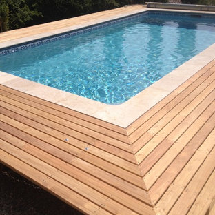 Piscine Plage bois 4x7 rectangle liner gris Modernité et Simplicité