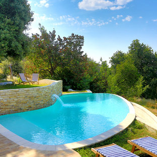 Example of a mid-sized classic custom-shaped infinity pool design in Nice