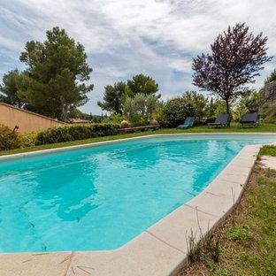 Modelo de casa de la piscina y piscina ecléctica, grande, a medida, en patio trasero, con entablado