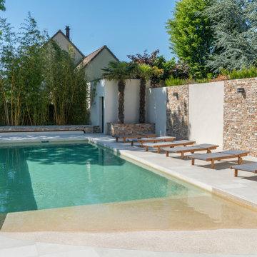 Réalisation d'une piscine rectangulaire en région Parisienne