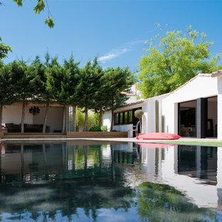 Ispirazione per un'ampia piscina design rettangolare dietro casa con una dépendance a bordo piscina e pedane