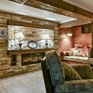 Свежая идея для дизайна: подвал в стиле кантри с наружными окнами, красными стенами, полом из керамогранита, горизонтальным камином и фасадом камина из камня - отличное фото интерьера
