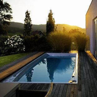 Idéer för en mellanstor modern pool på baksidan av huset, med trädäck