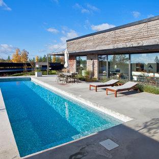 ストックホルムの大きい長方形北欧スタイルのおしゃれな前庭プール (コンクリート板舗装) の写真