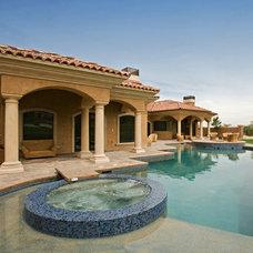 Mediterranean Pool by Pinnacle Architectural Studio