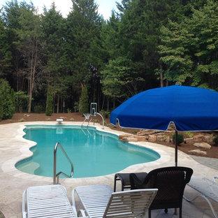 シャーロットの大きいオーダーメイドトロピカルスタイルのおしゃれな裏庭プール (噴水、天然石敷き) の写真