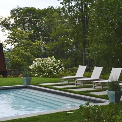 Trendy rectangular pool photo in Other