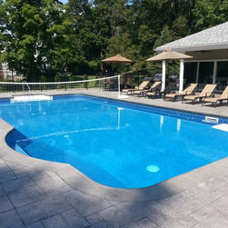 Large and mid sized boston side yard pool design ideas for Pool design generator