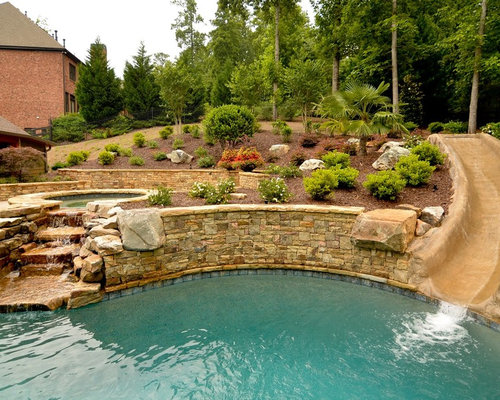 Pool slide ideas pictures remodel and decor for Hillside pool ideas