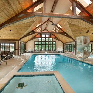 Example of a classic indoor pool fountain design in Columbus