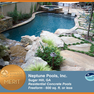 Pool fountain - contemporary backyard stone and custom-shaped natural pool fountain idea in Atlanta