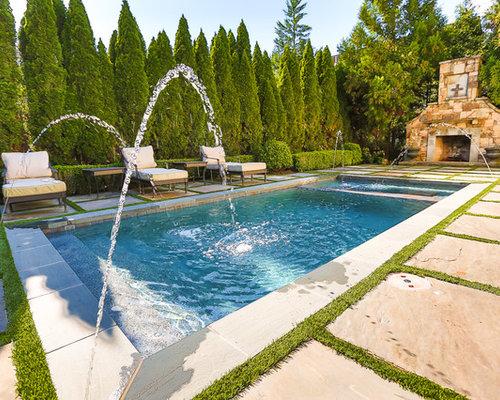Fotos de piscinas dise os de piscinas con fuente for Piscina rectangular pequena