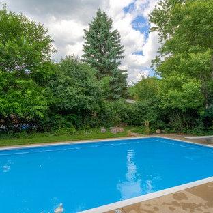 Modelo de piscinas y jacuzzis alargados, industriales, grandes, rectangulares, en patio trasero, con losas de hormigón