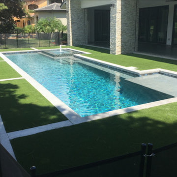 380 - Modern Custom Pool with Spa, Water Features and Artificial Turf