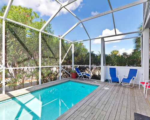 Coastal Indoor Pool Photo In Miami With Decking
