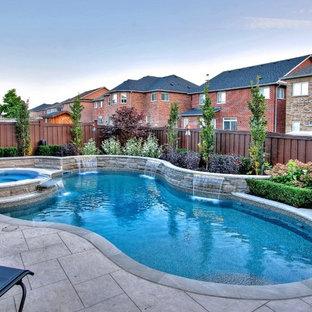 Imagen de piscinas y jacuzzis tradicionales renovados, de tamaño medio, tipo riñón, en patio trasero, con suelo de hormigón estampado