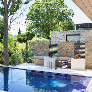 Contemporary courtyard rectangular pool in Canberra - Queanbeyan with tile.