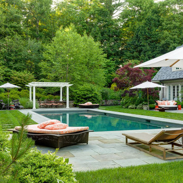A Lush Green Back Garden With Pool