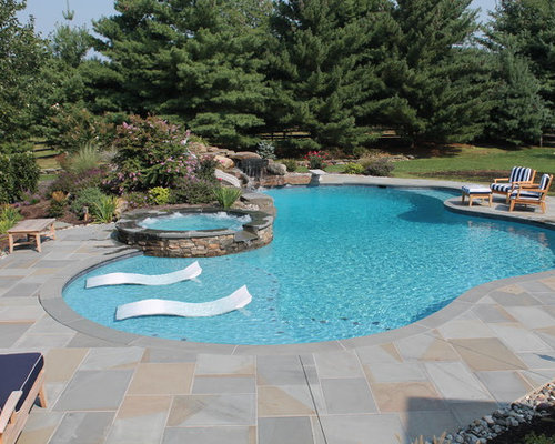 Sun shelf pool houzz for Pool design with sun shelf
