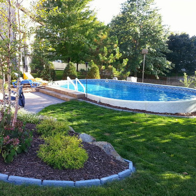 Pool - mid-sized traditional backyard custom-shaped aboveground pool idea in Other