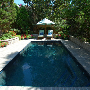Pool - small traditional backyard concrete paver and rectangular lap pool idea in DC Metro