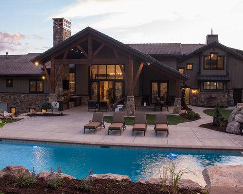 cette photo montre une piscine hors sol et arrire craftsman de taille moyenne et rectangle - Amenager Une Piscine Hors Sol