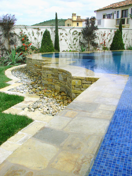 mediterranean pool by AMS Landscape Design Studios, Inc.