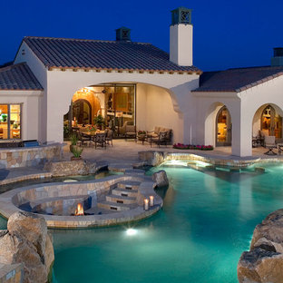 Inspiration for a mediterranean custom-shaped pool remodel in Orange County