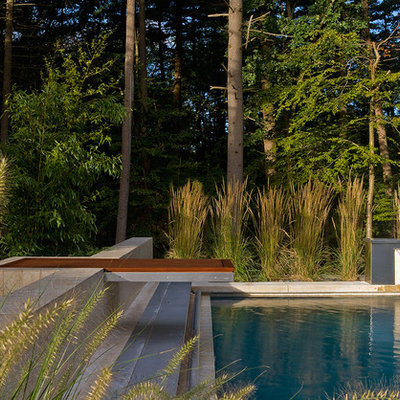 Inspiration for a large contemporary backyard rectangular and concrete pool fountain remodel in Boston