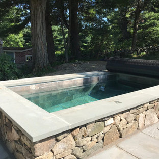 Inspiration for a small country backyard rectangular natural pool in Boston with a hot tub and natural stone pavers.