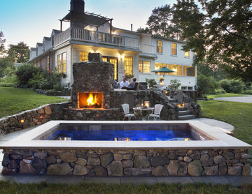 Antique Farmhouse Outdoor Living Space with plunge pool