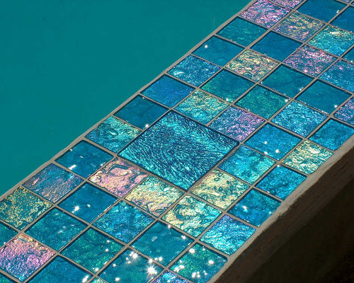 Aqua Glass Tile Pool With Jewel Accents Maryland