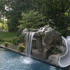 Ramsey Nj Free Form Gunite Pool With Slide And Custom