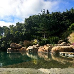 Ejemplo de piscina con fuente infinita, rústica, grande, a medida, en patio trasero, con suelo de baldosas