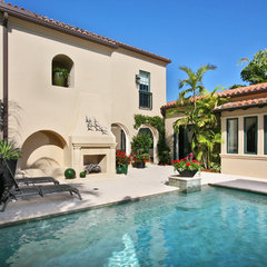 mediterranean pool by London Bay Homes