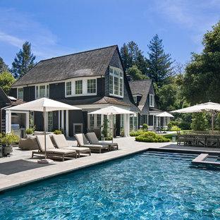 Inspiration for a timeless backyard rectangular hot tub remodel in San Francisco