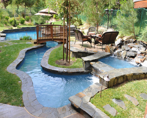 Tropical Backyard With Lazy River Pool Home Design Ideas