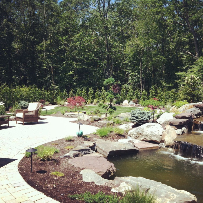 backyard landscape waterfall,paver patio with paver pathway