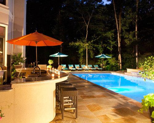 Backyard Pool Entertainment Area Potomac Md